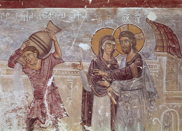 Eglise_du_Saint-Sauveur,_transept_sud_les_noces_de_Cana,_fragment._Géorgie,_Tsalendjikha